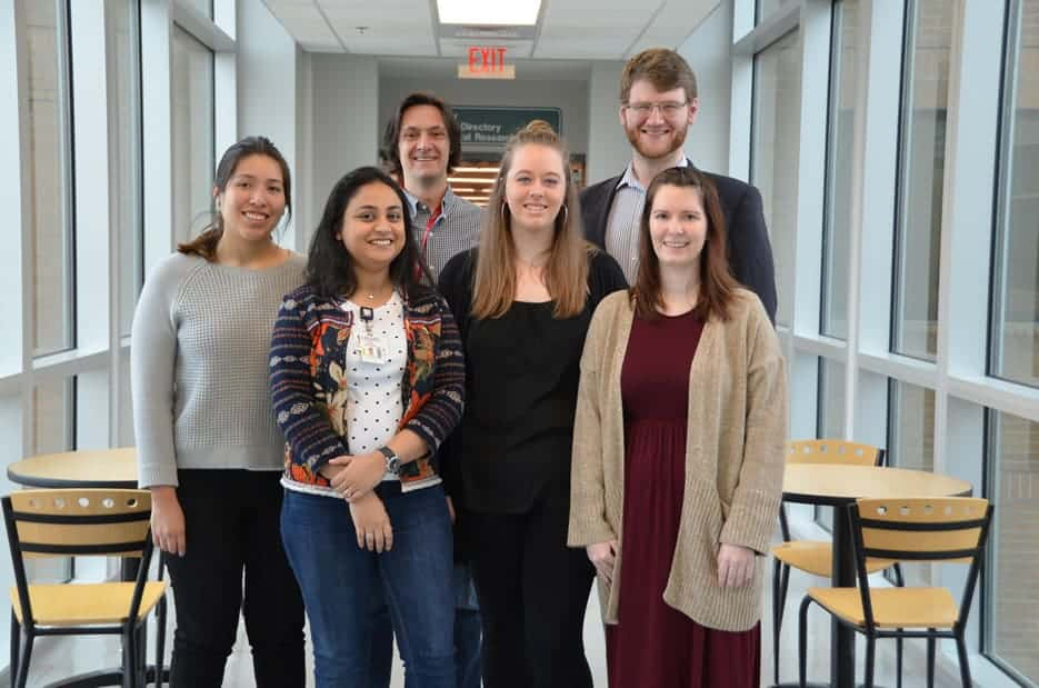 J. Craig Forrest, Ph.D., (third from left) along with his research team of students (left to right) Ana Castro, Aru Gupta, Shana Owens, Wesley Bland and Nicole Turnage.